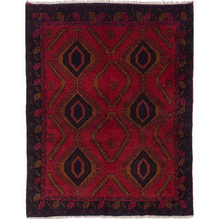 ecarpetgallery Hand-Knotted Finest Baluch Red Wool Rug (4'9 x 5'11)