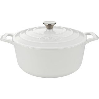 La Cuisine Pro 2.2-quart Round Cast Iron Casserole with White Enamel Finish