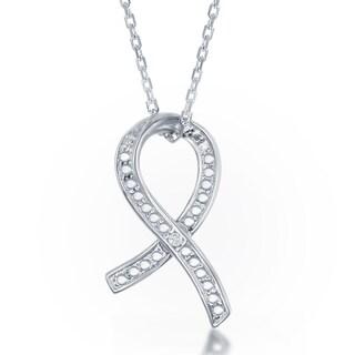 La Preciosa Sterling Silver Diamond Accent Awareness Ribbon Pendant
