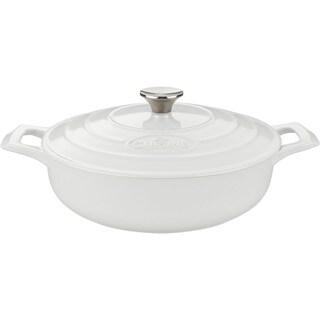 La Cuisine PRO Saute 3.75-quart Cast Iron Casserole with White Enamel Finish