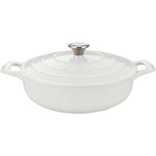 La Cuisine Saute 3.75-quart White Cast Iron Casserole Dish with Enamel Finish