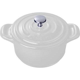 La Cuisine White 4-inch Mini Round Cast Iron Casserole