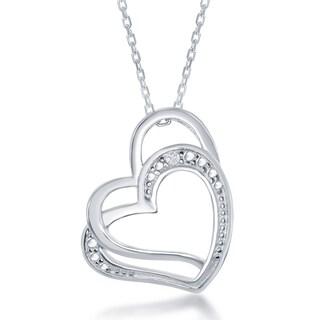 La Preciosa Sterling Silver Diamond Accent Double Heart Pendant