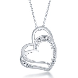 La Preciosa Sterling Silver Diamond Accent Double Heart Pendant