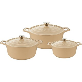 La Cuisine PRO 6-piece Round Crean Cast Iron Casserole Set With Enamel Finish