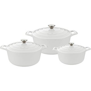 La Cuisine White Cast Iron 6-piece Round Casserole Set With Enamel Finish