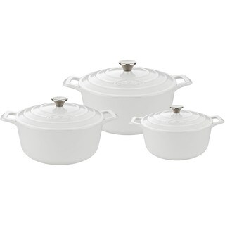 La Cuisine White Cast Iron 6-piece Round Casserole Set With Enamel Finish