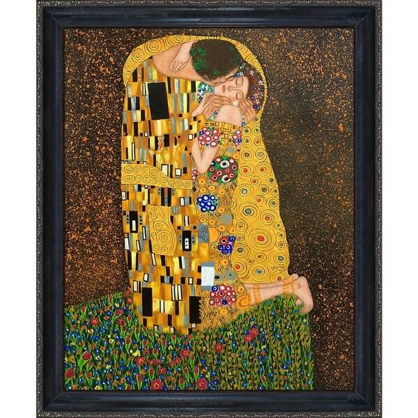 Gustav Klimt  'The Kiss' (Full view) Hand Painted Framed Canvas Art