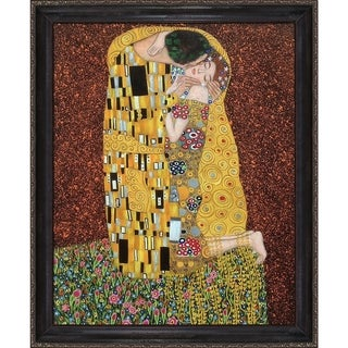Gustav Klimt 'The Kiss' (Full view) Hand Painted Framed Canvas Art