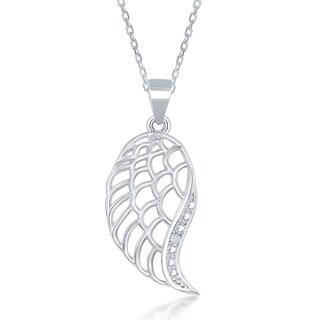 La Preciosa Sterling Silver Diamond Accent Angel Wing Pendant