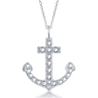 La Preciosa Sterling Silver Diamond Accent Anchor Pendant