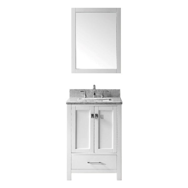 Eviva Aberdeen 24 Inch White Carrera Marble Top Grey Bathroom Vanity Free Shipping Today