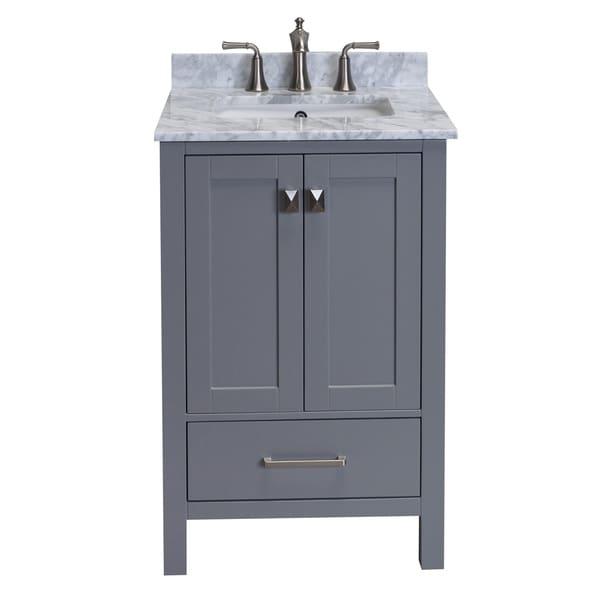 Eviva Aberdeen 24 Inch White Carrera Marble Top Grey Bathroom Vanity