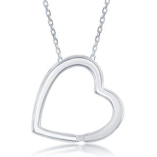 La Preciosa Sterling Silver Diamond Accent Sideways Heart Pendant