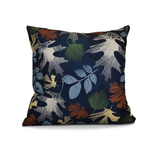 20 x 20-inch Watercolor Leaves Floral Print Pillow