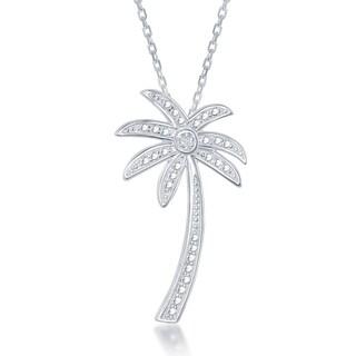 La Preciosa Sterling Silver Diamond Accent Palm Tree Pendant