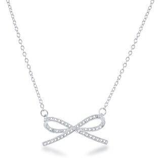 La Preciosa Sterling Silver Diamond Accent Bow Necklace