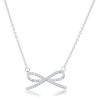 La Preciosa Sterling Silver Diamond Accent Bow Necklace