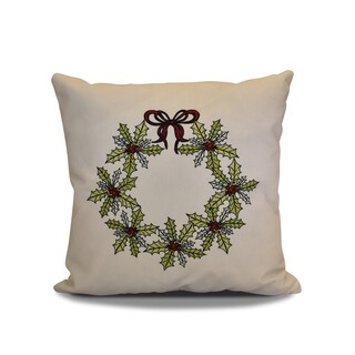 20 x 20-inch Traditional Holly Wreath Floral Holiday Print Pillow
