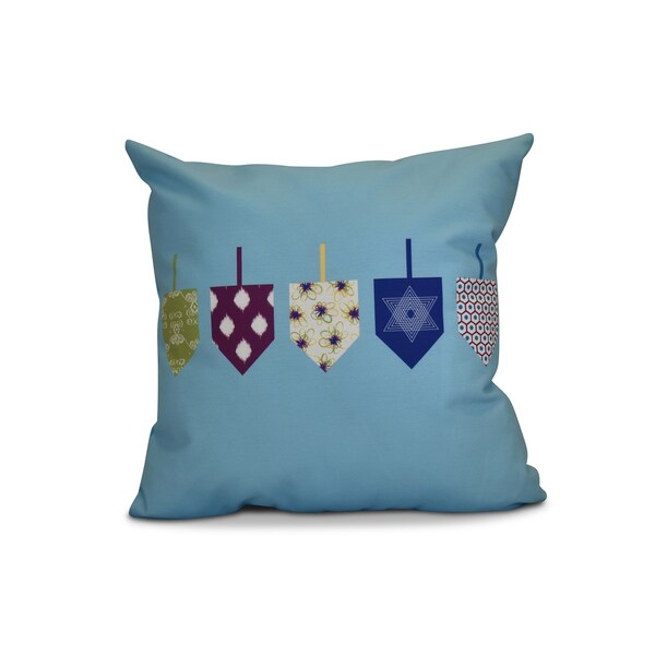 20 x 20-inch Doodled Dreidels Geometric Holiday Print Pillow