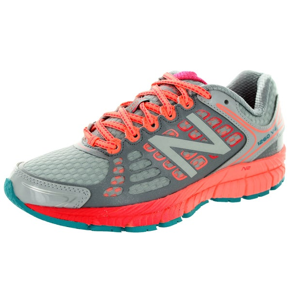 New Balance Women's 1260V4 Light Grey With Coral & Blue Atoll Running Shoe 5.5