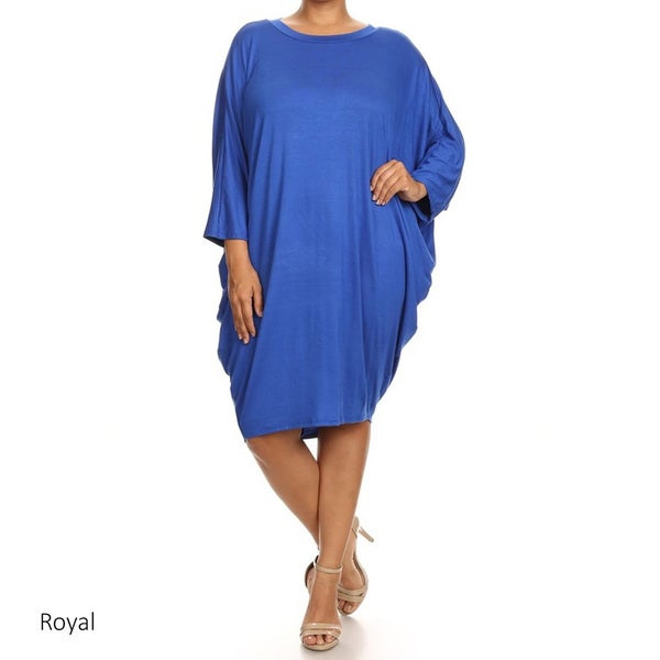 Plus Size Women's Solid-colored Rayon/Spandex Dress