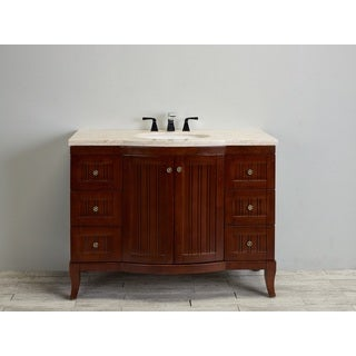 Eviva Odessa Zinc 48-inch Crema Marfil Marble Top Brown Bathroom Vanity Set