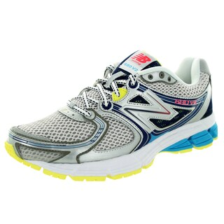 New Balance Women's 680V2 Silver With Blue Atoll and Yellow Running Shoe