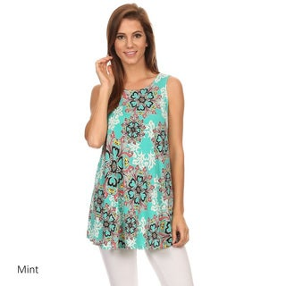 Women's Polyester/Spandex Sleeveless Floral Top
