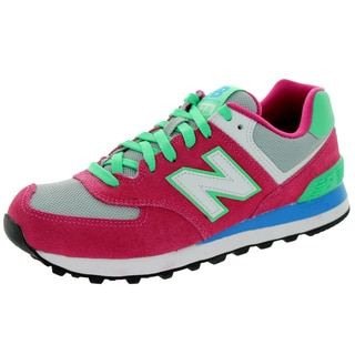 New Balance Women's 574 Classics Pink Glo With Green Flash and Grey Running Shoe