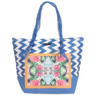 Nicole Lee Jeri Blue Beach Tote Bag