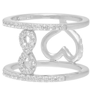 Silver Reversible Heart/Infinity Rhodium Plated CZ Ring