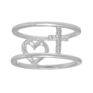 Silver Reversible Heart/Cross Rhodium Plated CZ Ring