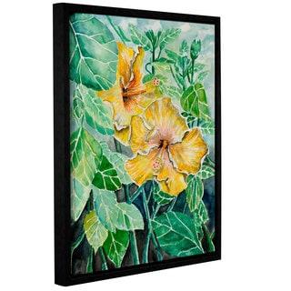 Derek McCrea's 'Hibiscus Flowers' Gallery Wrapped Floater-framed Canvas