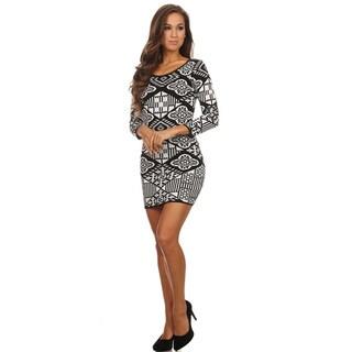 Women's Grey/Black Rayon/Polyester Body-con Mini Dress
