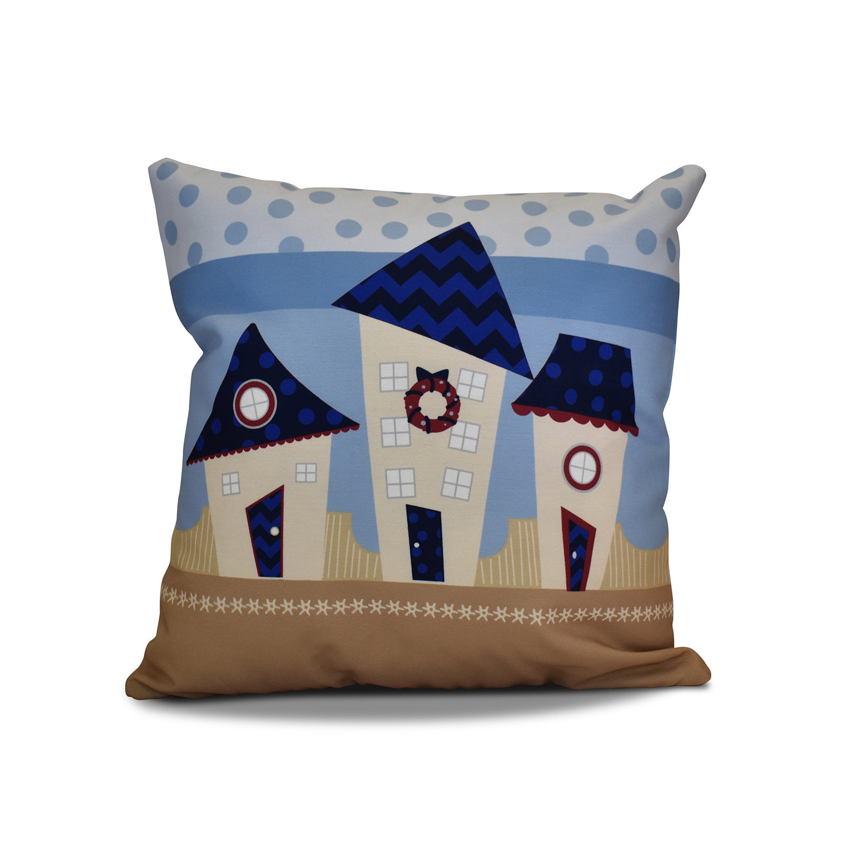20 x 20-inch Coastal Houses Geometric Holiday Print Outdoor Pillow (Green)