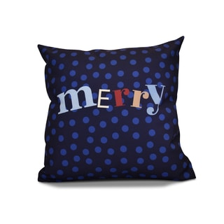 20 x 20-inch Merry Dot Word Holiday Print Outdoor Pillow