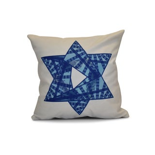 20 x 20-inch Star Mosaic Geometric Holiday Print Outdoor Pillow