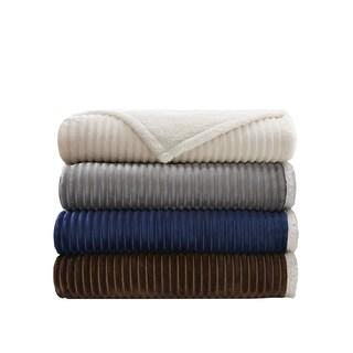 Madison Park Williams Corduroy/ Berber Plush Blanket