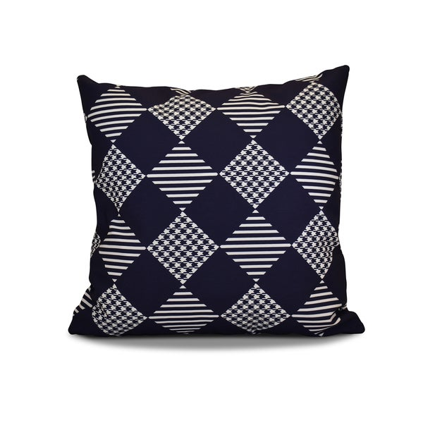 20 x 20-inch Check It Twice Geometric Holiday Print Outdoor Pillow