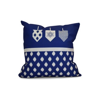 20 x 20-inch Dreidels Geometric Holiday Print Outdoor Pillow