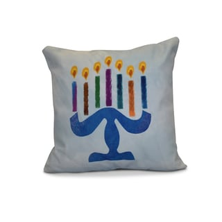 20 x 20-inch Painted Menorah Geometric Holiday Print Outdoor Pillow