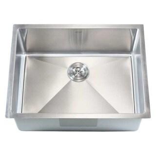 26-inch Stainless Steel Single Bowl Undermount 15mm Radius Kitchen Sink 16 Gauge Combo