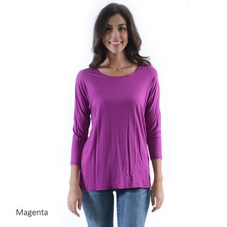Women's Solid 3/4 Sleeve Dolman Top
