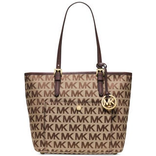 Michael Kors Jet Set Beige/Ebony/Mocha Signature Tote Bag