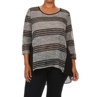 Plus-size Striped Loose-fit Tunic