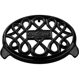 LaCuisine Black 7-inch Round Cast Iron Trivet