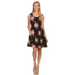 Women's Black Floral Sleeveless Dress
