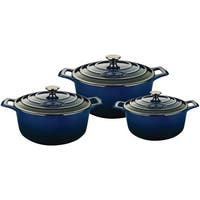 La Cuisine 6-piece Blue Round Cast Iron Enamel-finish Casserole Set