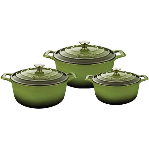 La Cuisine Round Cast Iron Casserole Set with Green Enamel Finish (6-piece Set)